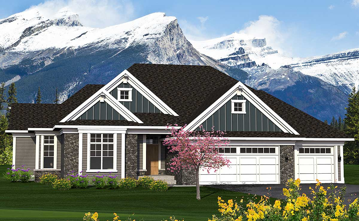 Split bed craftsman ranch 89962ah architectural for Reverse ranch house plans