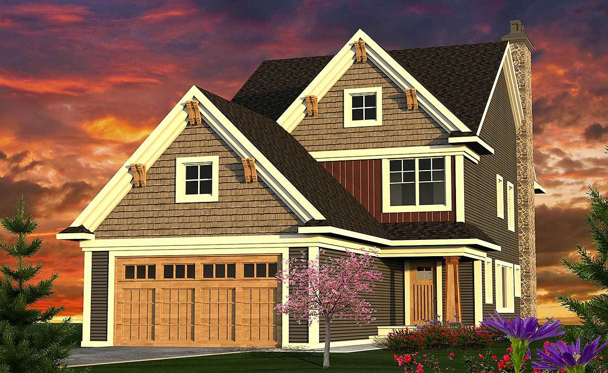 Narrow 3 Bed Craftsman Home Plan 89965ah Architectural