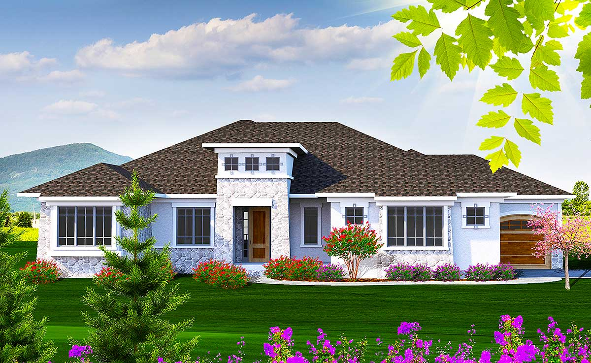 One level flexible tuscan home plan 89967ah for Flexible house plans