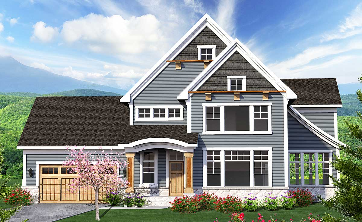 3 bed house plan with sloped roofline 89968ah for Architectural designs com