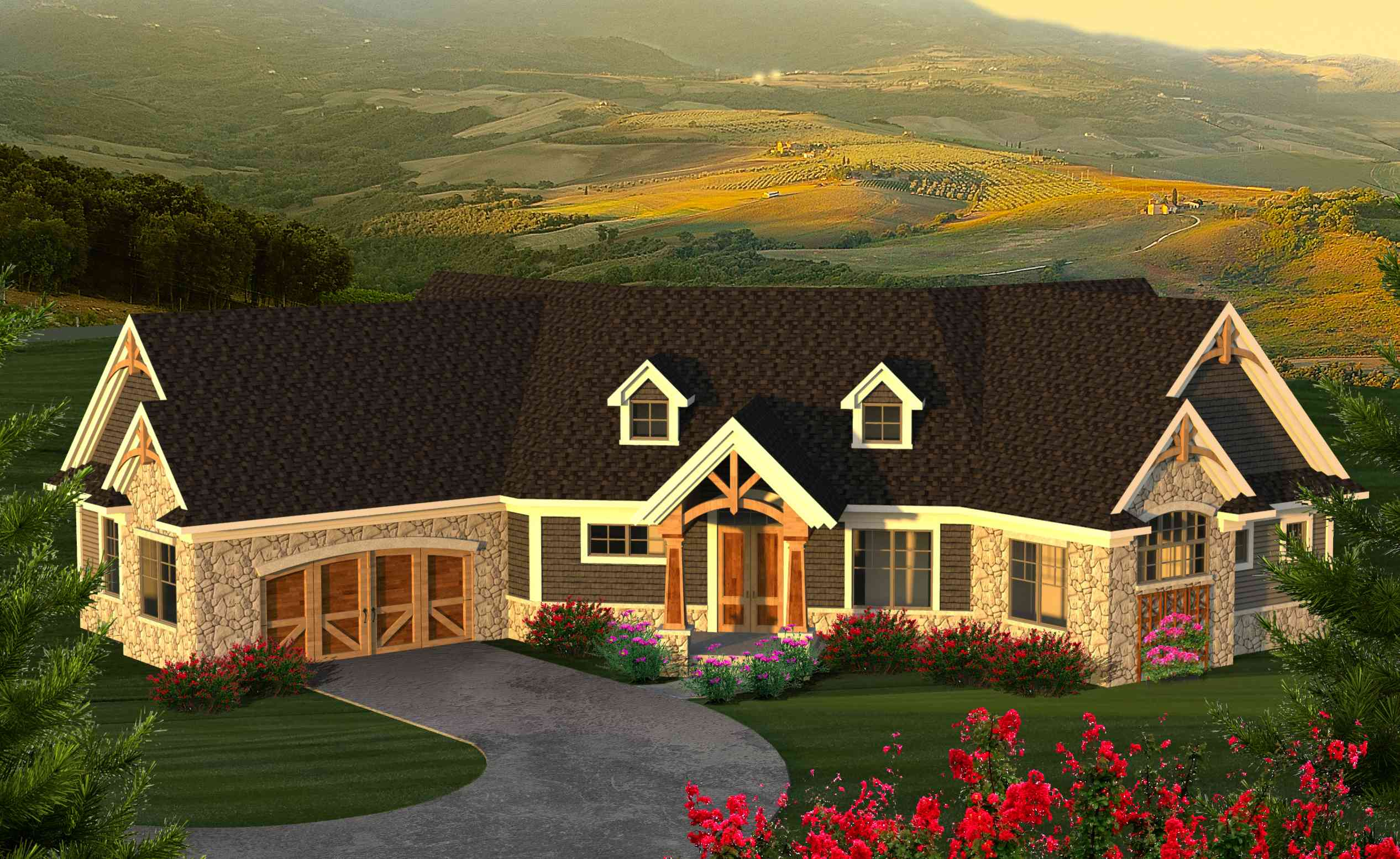 Angled mountain ranch with loft 89969ah 1st floor for Ranch home plans with loft