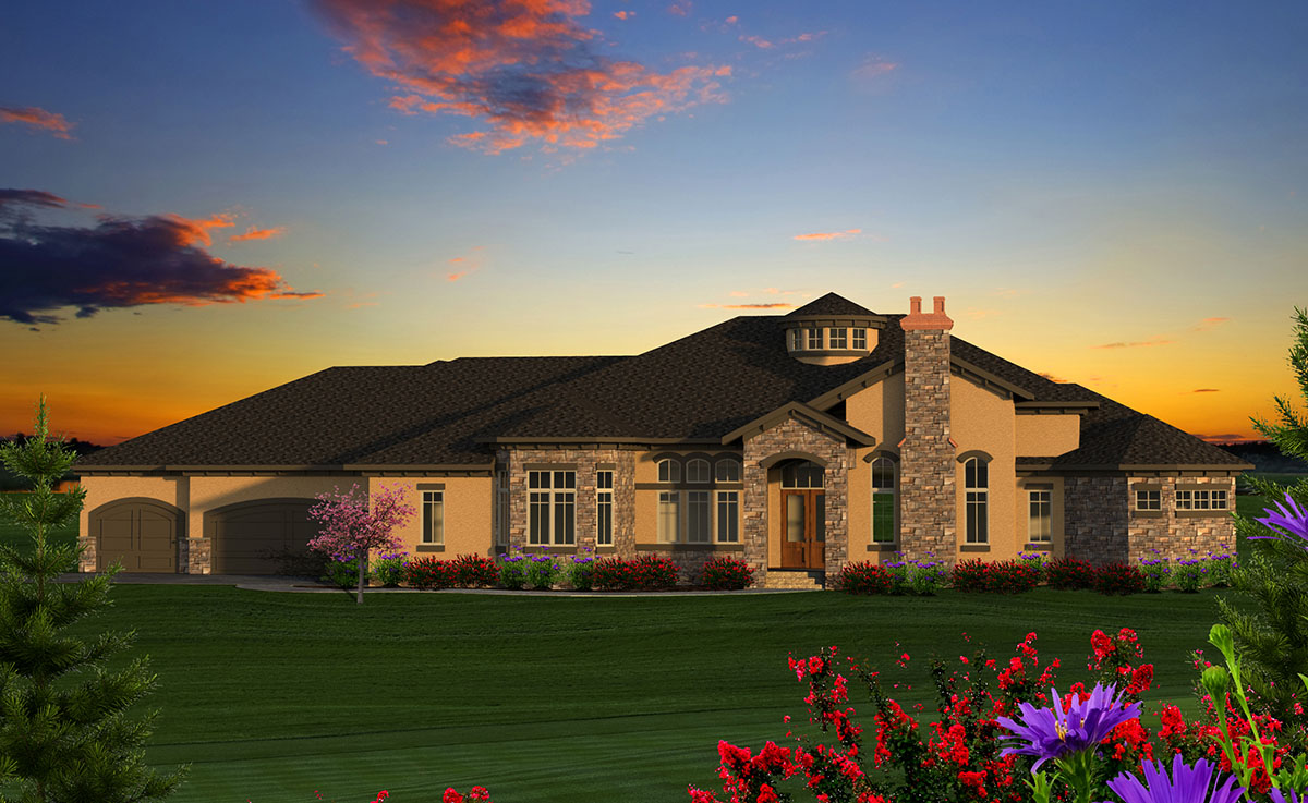 Luxury 4 tuscan ranch house plan 89978ah 1st floor for Luxury single story homes