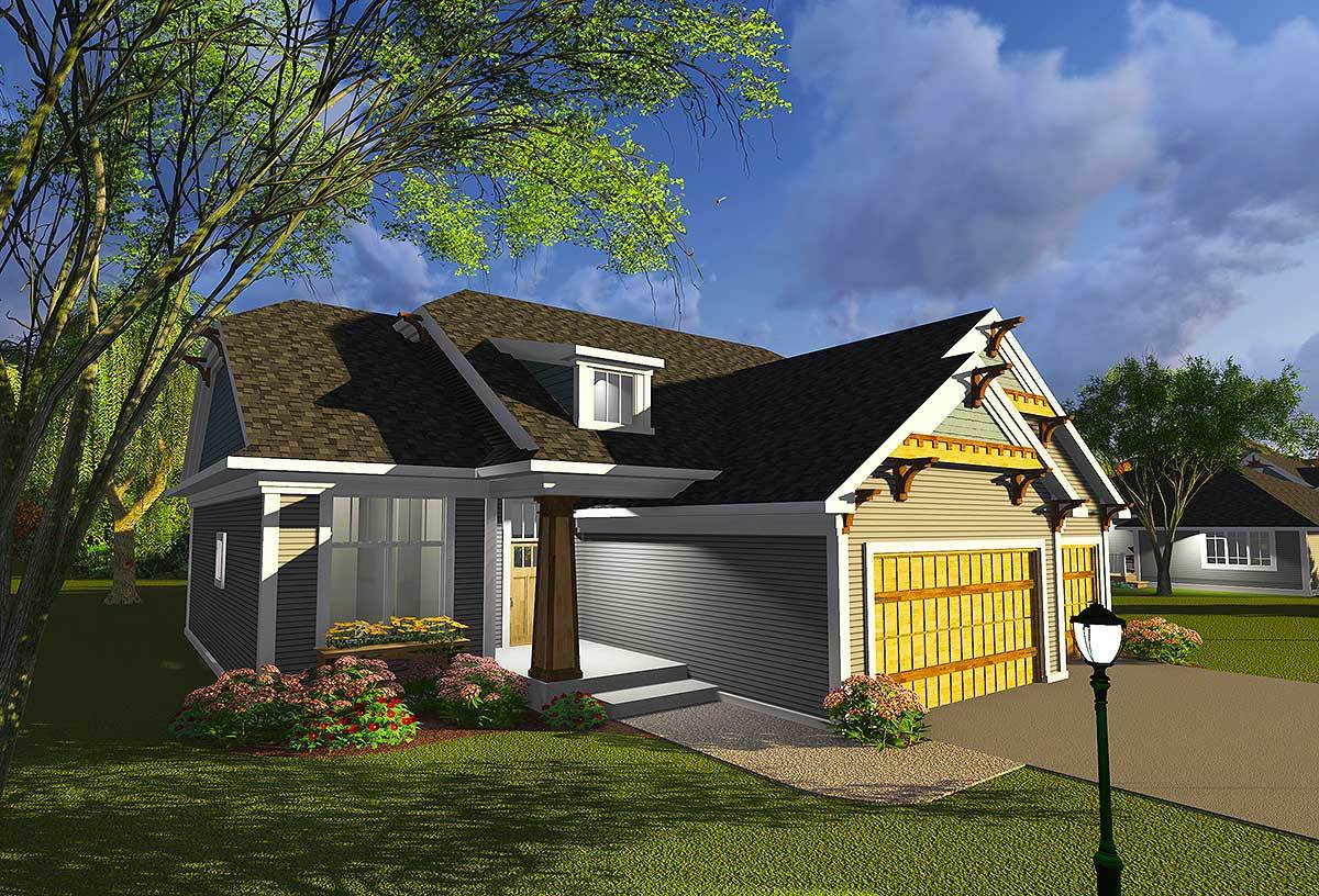 Craftsman with open concept floor plan 89987ah for Open concept house plans