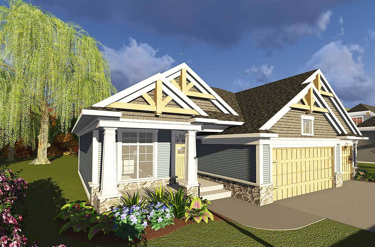 3 bed craftsman ranch with open concept floor plan for Open concept craftsman house plans