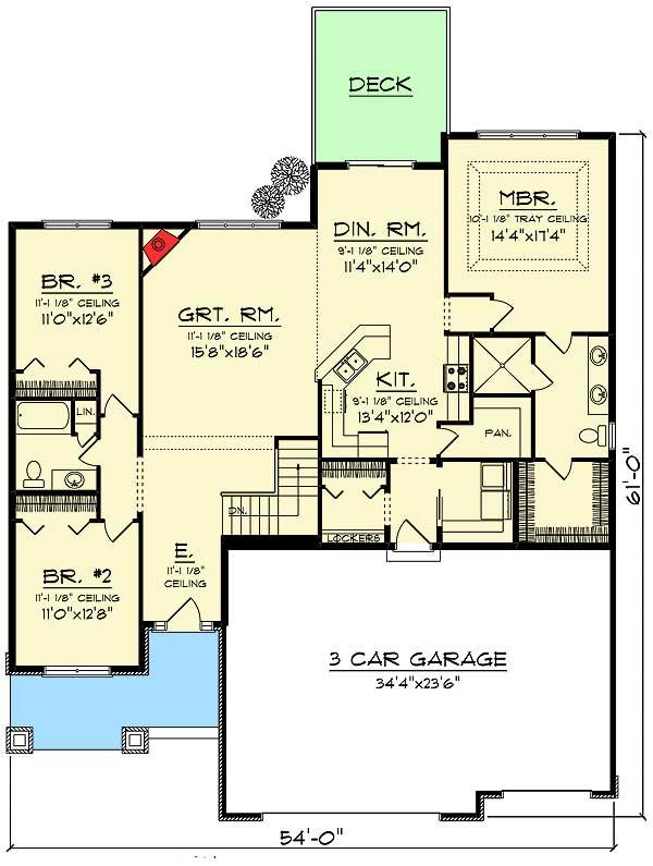 3 Bed Craftsman Ranch with Open Concept Floor Plan ...
