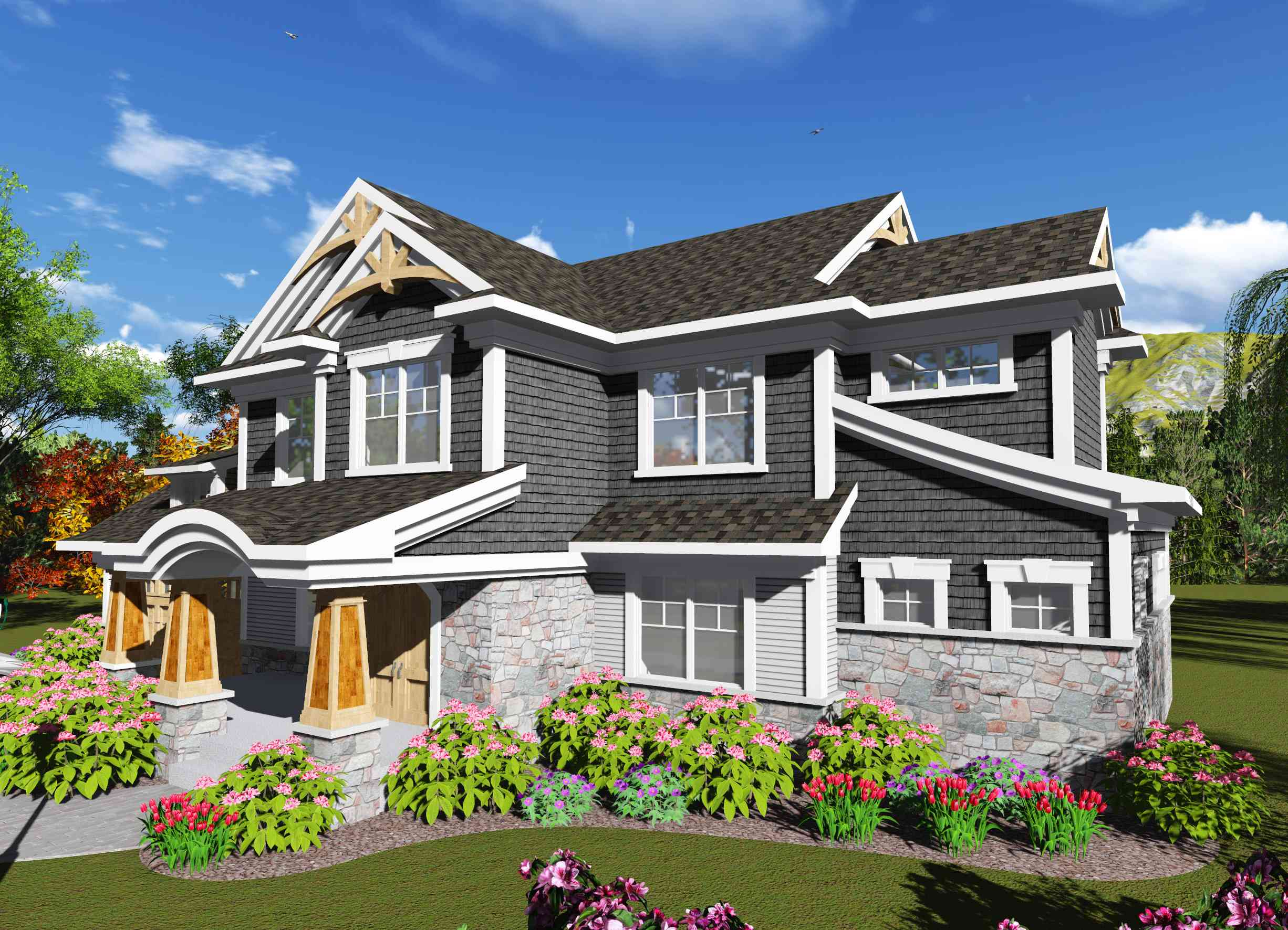 2 story craftsman with 4 bedrooms 89993ah for Two story craftsman