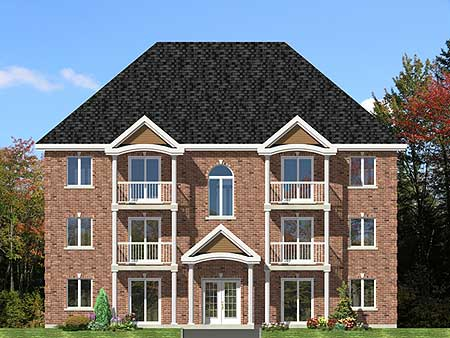 Six plex multi family house plan 90153pd 1st floor for Multifamily plans