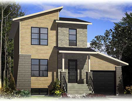 Flexible mini modern 90173pd contemporary modern for Modern house plans for narrow lots