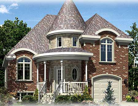 Stone turret 90192pd 2nd floor master suite butler for Home plans with turrets
