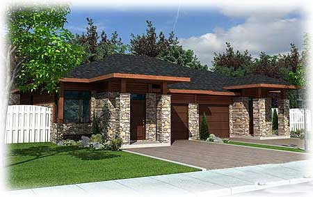 Contemporary multi family home plan 90227pd for Modern multi family house plans