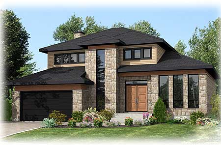 Bold clean lines 90230pd 2nd floor master suite cad for Small house designs canada