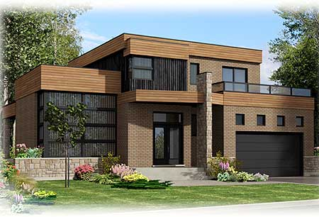 Roof Deck On Contemporary Home Plan 90231pd