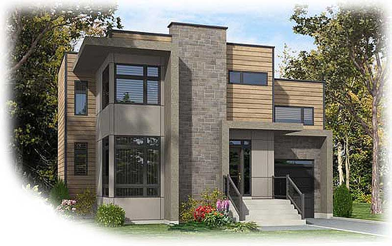 Narrow lot contemporary home plan 90237pd for Narrow house plans with garage underneath
