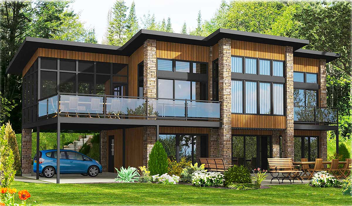 Contemporary Home Plan With All Beds Down - 90241PD | CAD ...