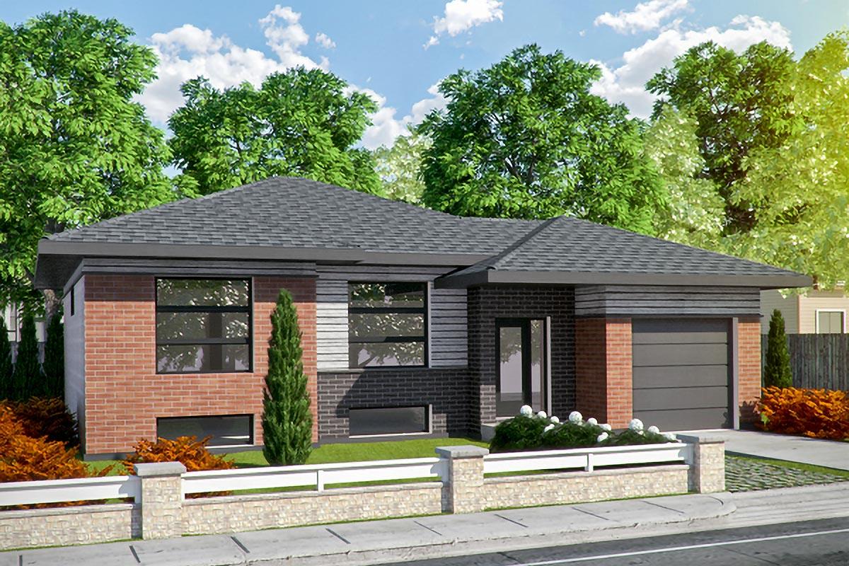 Split level contemporary 90255pd architectural designs - Contemporary split level home designs ...
