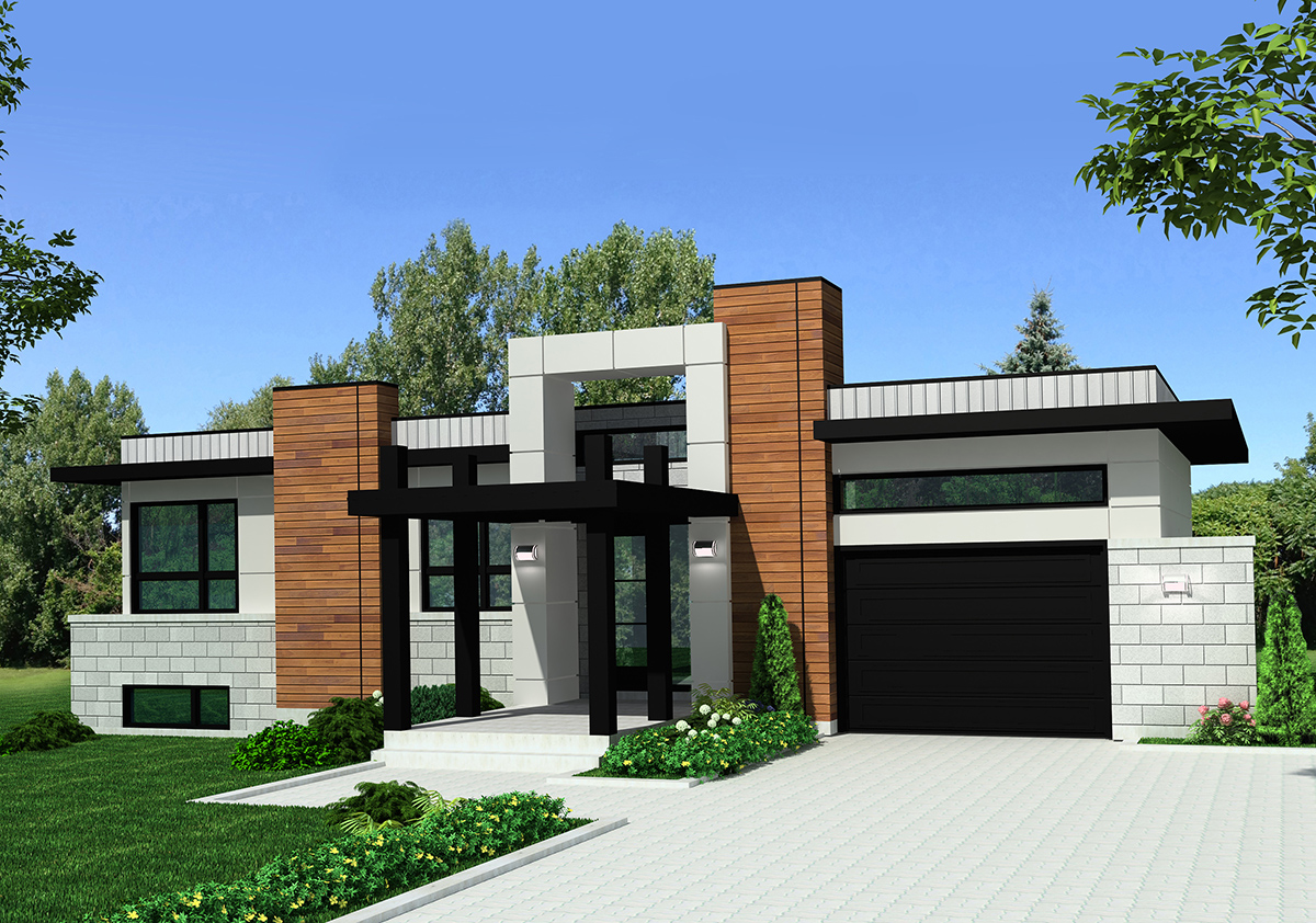 Modern home plan with striking exterior 90275pd 1st for Modern home plans for narrow lots