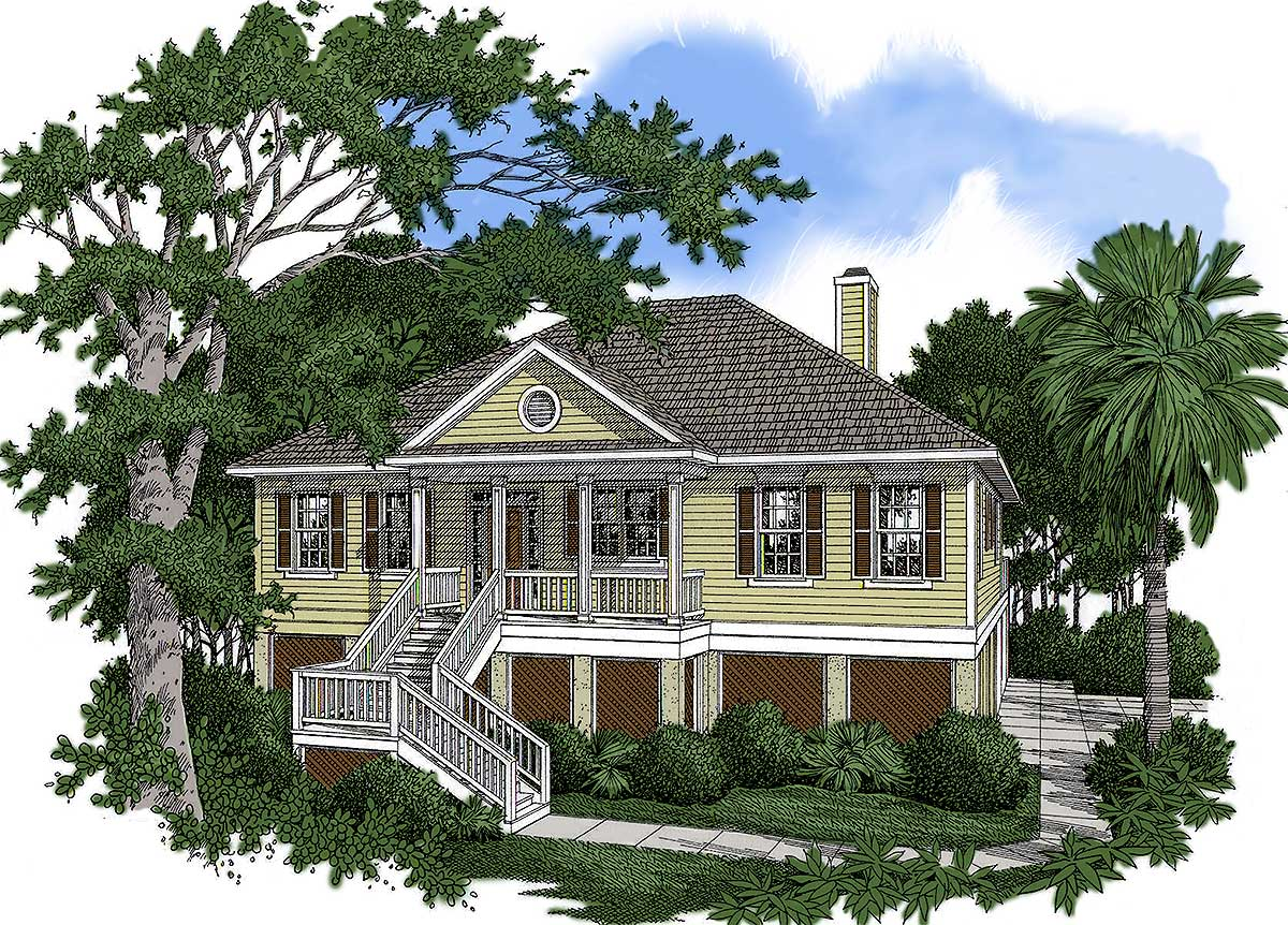 Low country house plan with vaulted great room 9100gu for Low country house