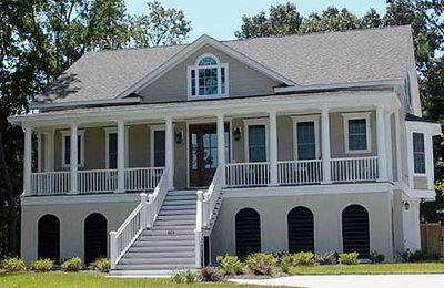 Raised low country home plan 91003gu architectural for Low country style homes