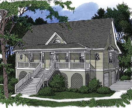 Low country charm 9108gu 1st floor master suite cad for Garage under house plans