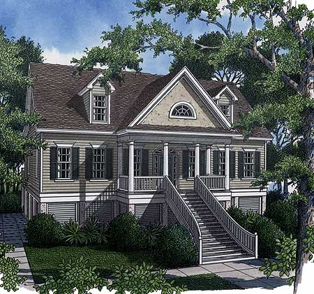 Low country retreat 9113gu architectural designs for Low country home designs