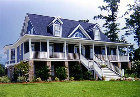 Gracious low country house plan 9135gu 1st floor for Raised house plans with garage underneath
