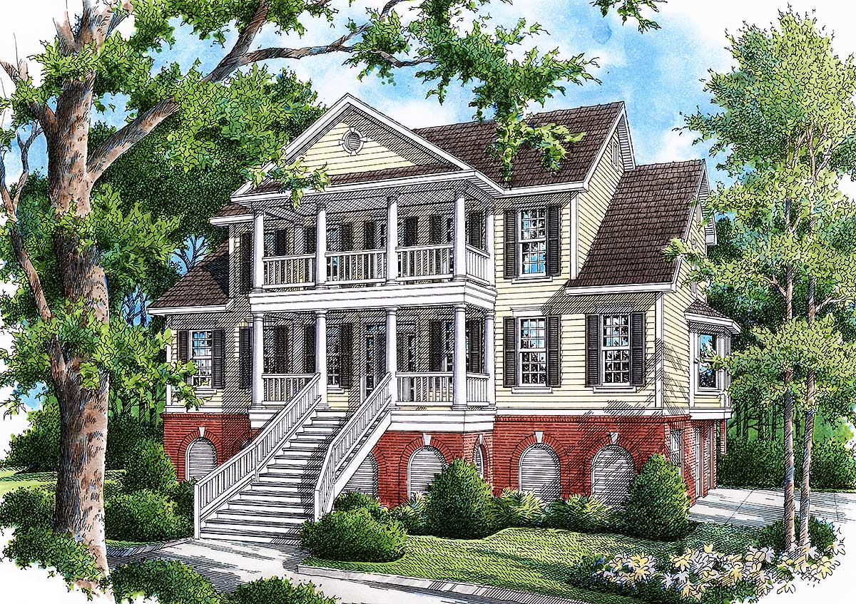 Low country showcase home 9137gu architectural designs for Low country house plans with detached garage