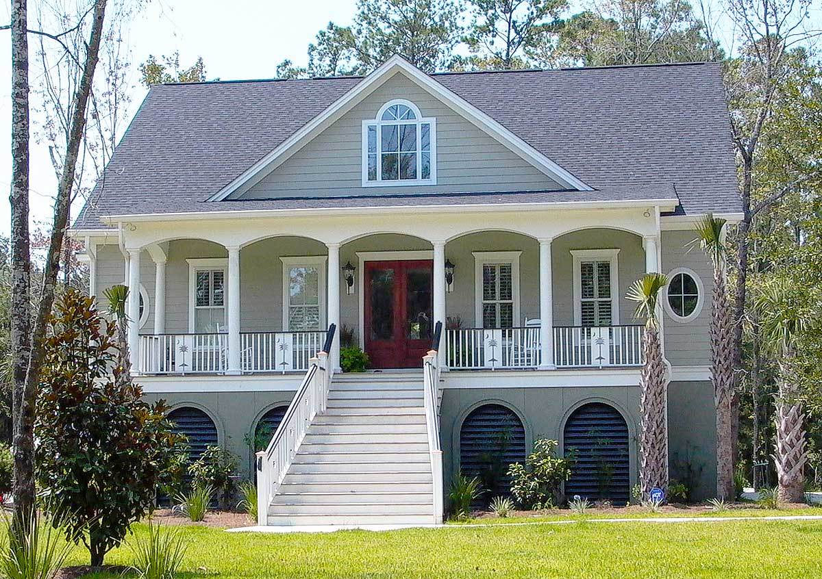 Low country house plan with elevator 9152gu for Low country farmhouse plans
