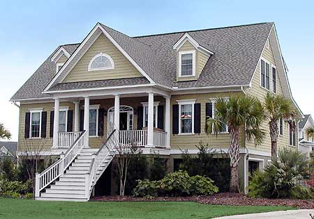 Low country in two versions 9153gu 1st floor master for Low country house plans