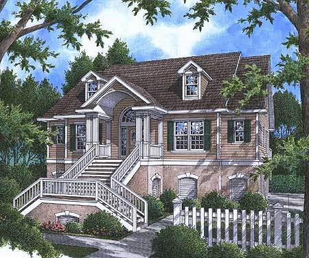 Low Country Plan With Elevator 9174gu Architectural
