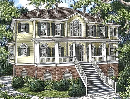 Grand and spacious low country house plan 9182gu for Low country home plans