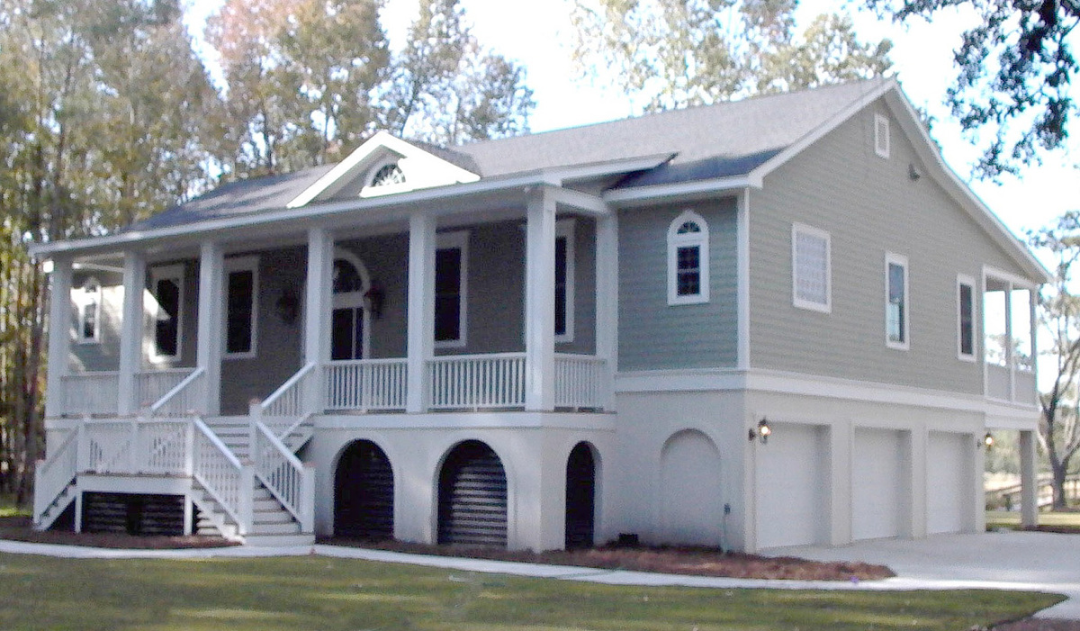 One level low country home plan 9199gu architectural for Low country homes