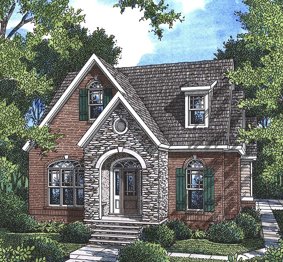 Empty Nester Cottage House Plan - 92010VS