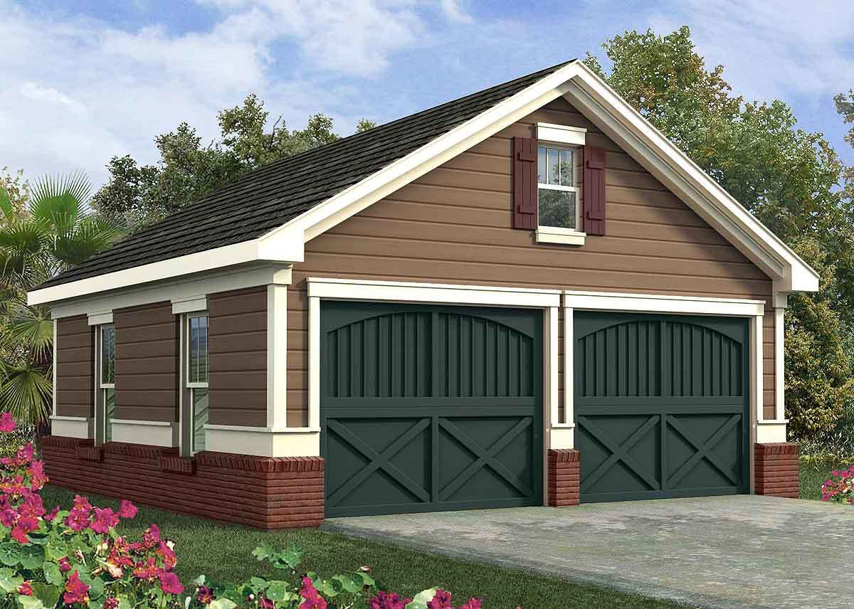 Simple two car garage 92048vs architectural designs for 1 5 car garage plans
