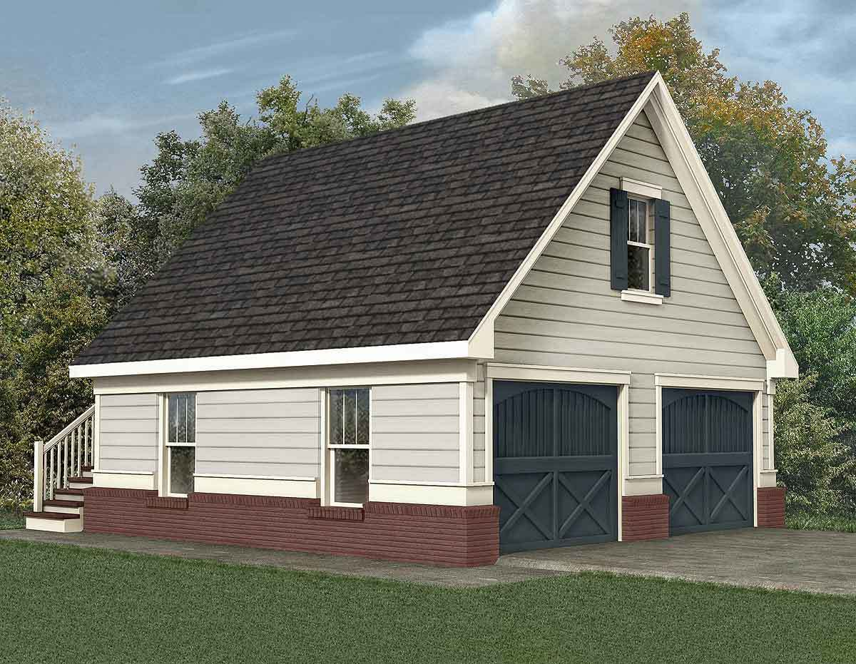 Stately two car garage 92049vs architectural designs for Double car garage plans