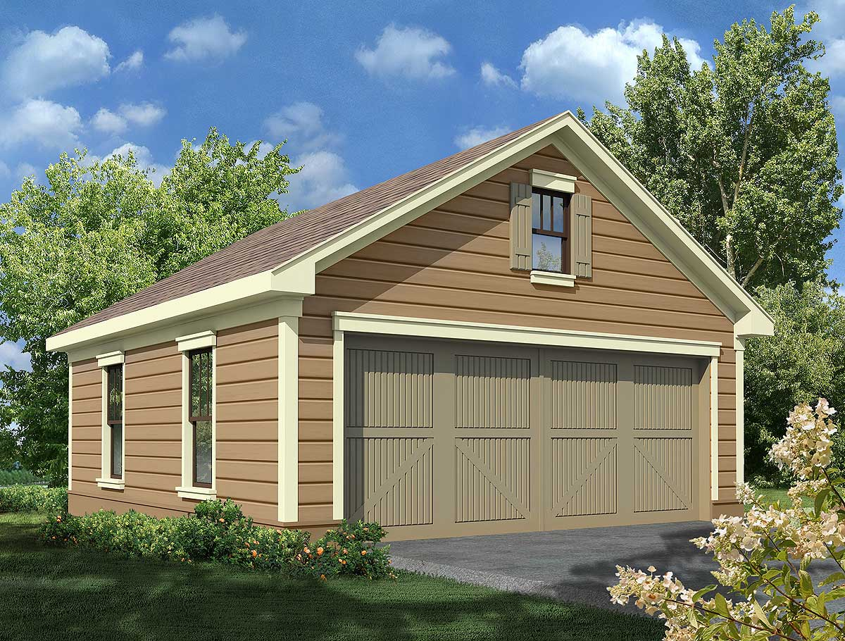 2 car garage with storage 92074vs architectural for 2 car garage house plans
