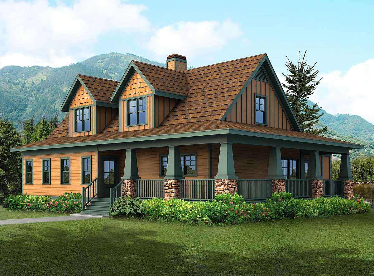 Rugged craftsman house plan 92084vs 1st floor master for Country craftsman