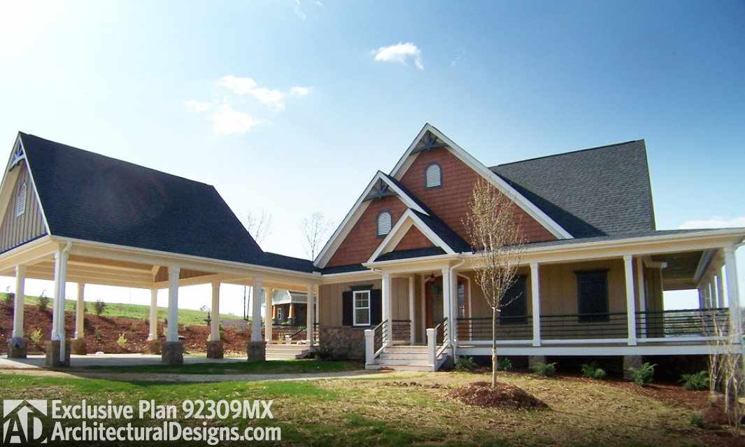 Retreat with full wraparound porch 92309mx 1st floor master suite cad available corner lot - Large summer houses energizing retreat ...