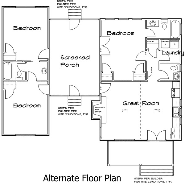 3 bedroom dog trot house plan 92318mx 1st floor master for Dogtrot home plans