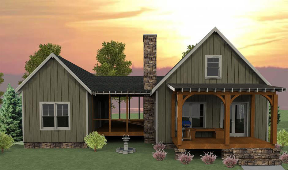 3 Bedroom Dog Trot House Plan MX