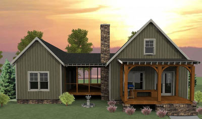 3 Bedroom Dog Trot House Plan - 92318MX thumb - 01