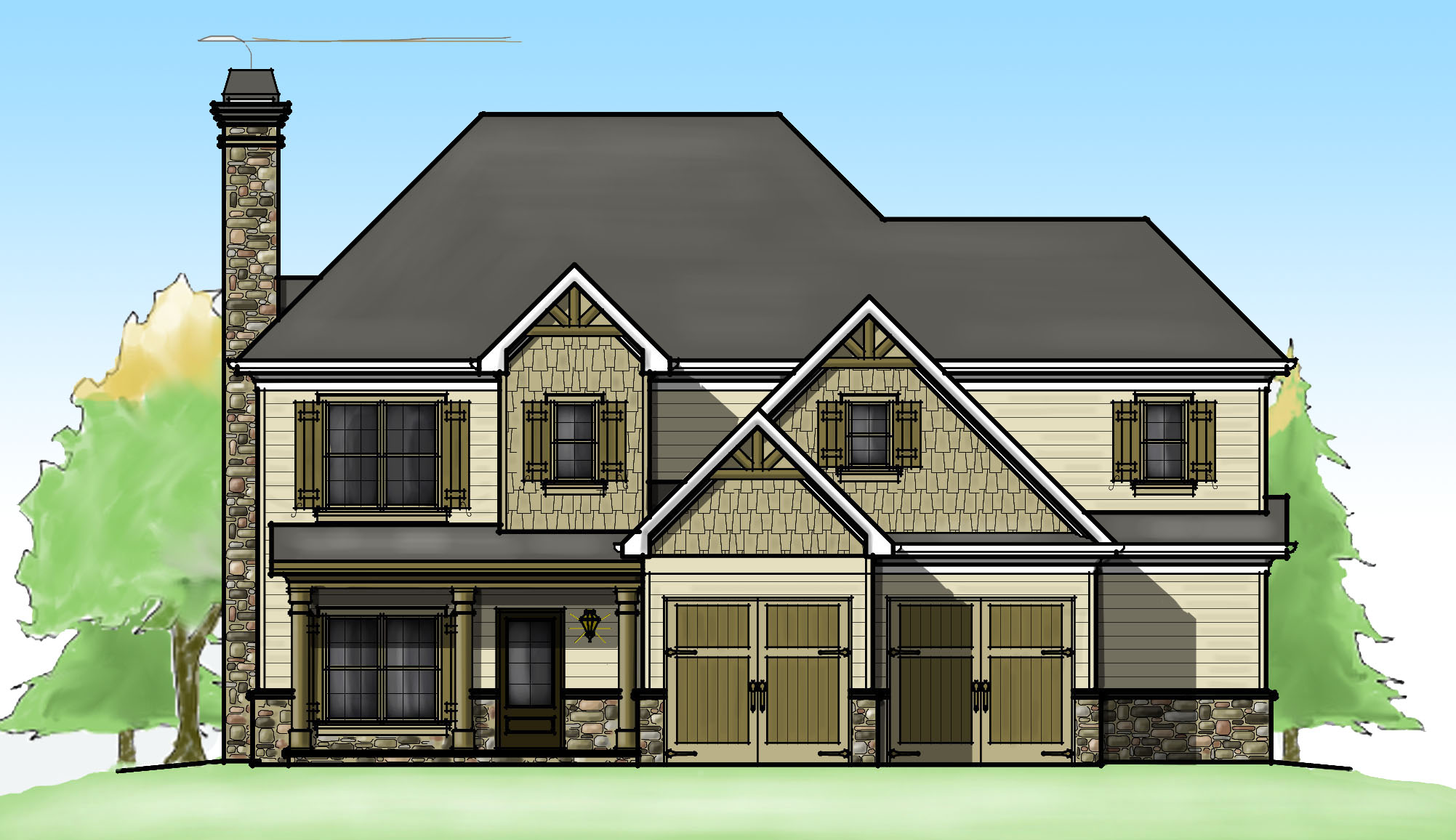 Two garage options 92347mx architectural designs for Architecturaldesigns com house plan 56364sm asp