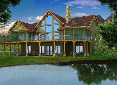 Mountain and lake escape home plan 92362mx for Adirondack house plans