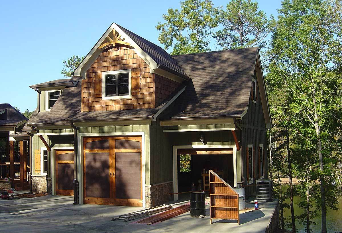 3 car rustic garage with living above 92369mx for Rustic garage plans