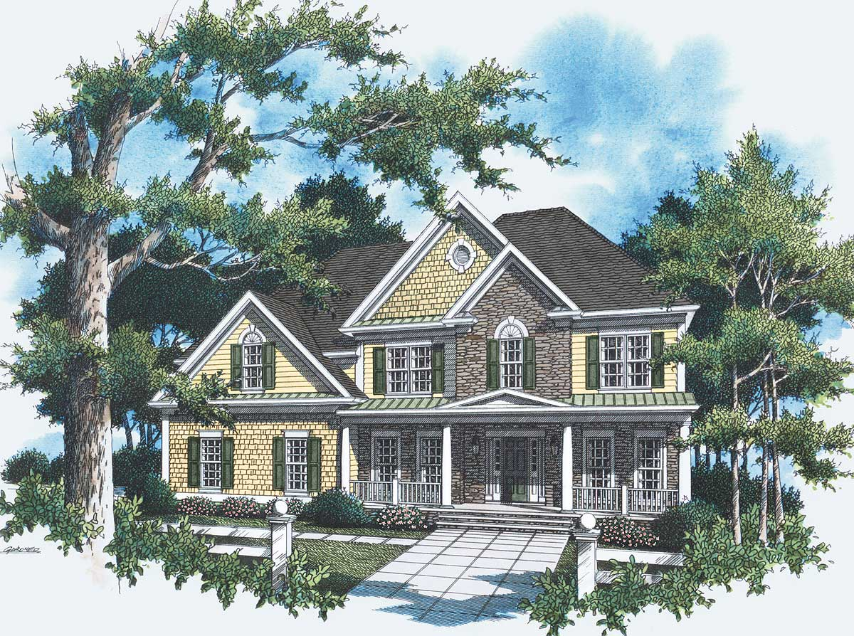 Stately Two Car Garage 92049vs: Stately Southern Home For Modern Family - 9262VS