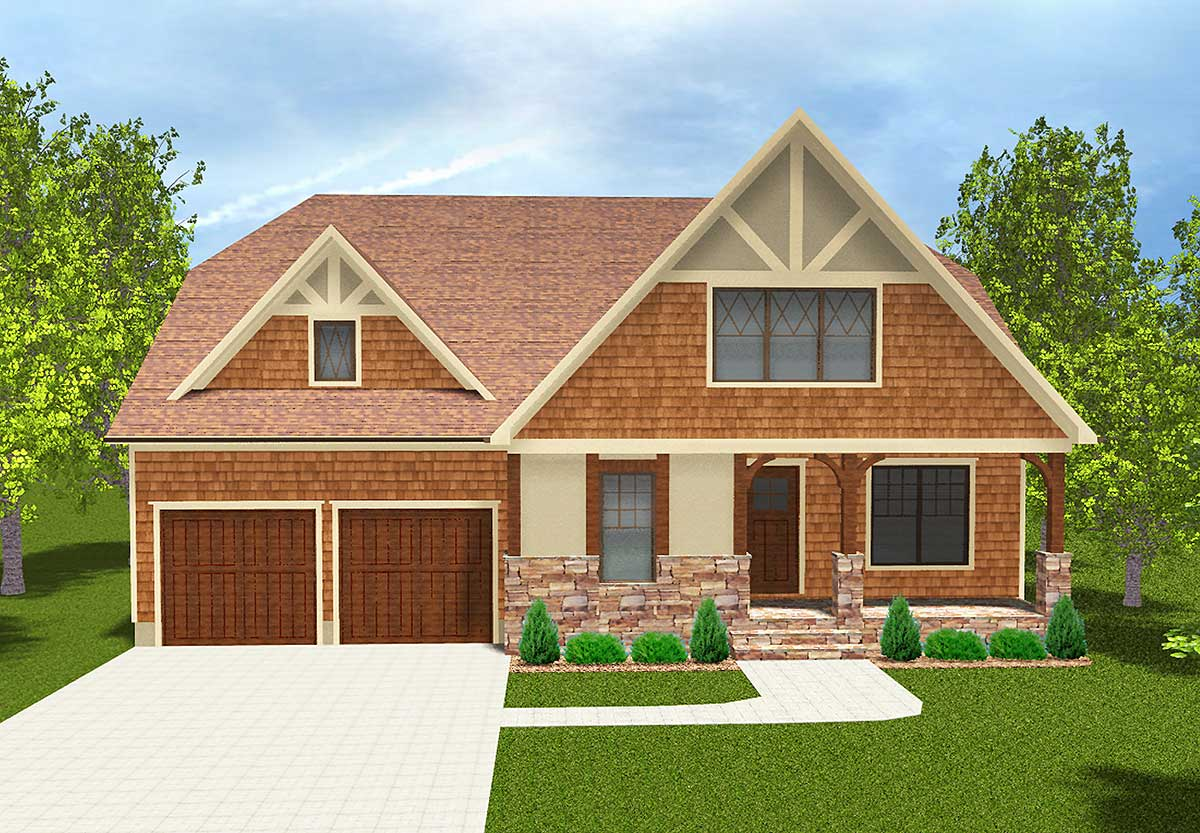 Flexible two story home plan 93043el architectural for Flexible house plans