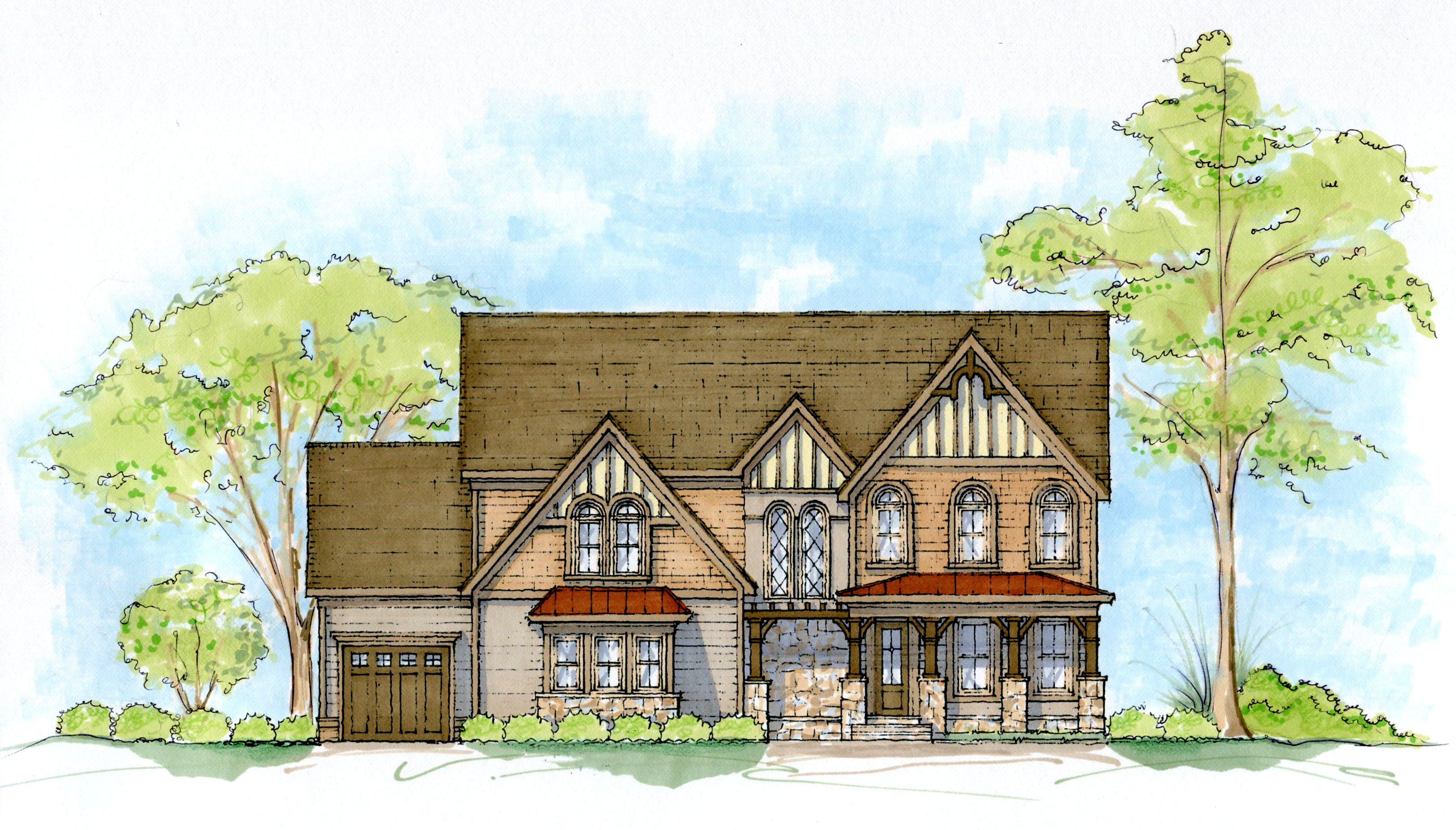 Grand tudor home plan 93064el architectural designs for Tudor home designs
