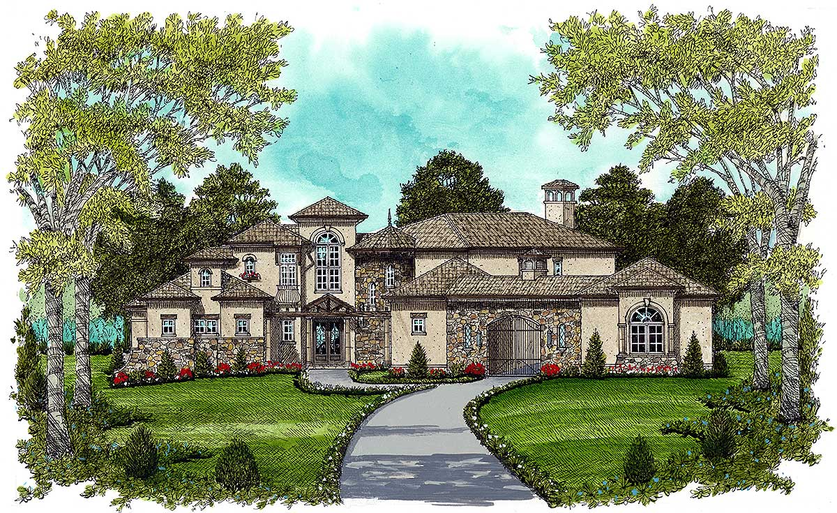 European estate home 9332el 1st floor master suite for European estate house plans