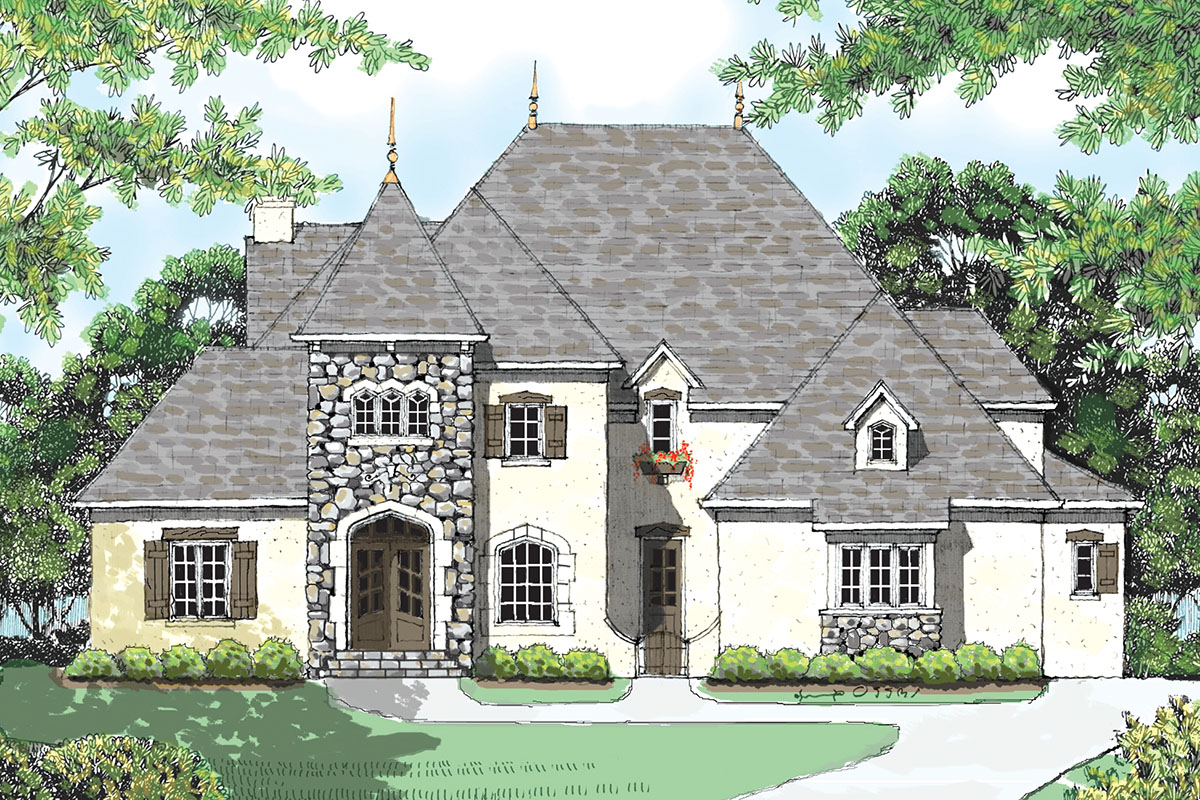 European style home plan with courtyard 9346el for European style house