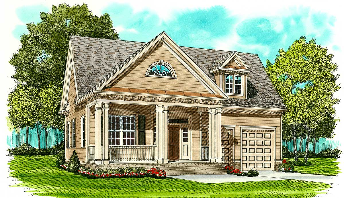 Pretty front porch 9353el architectural designs for House plans with porch across front