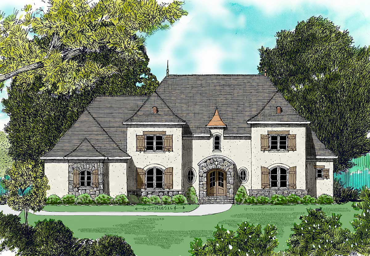 Stone and stucco 9368el architectural designs house for Stucco home floor plans